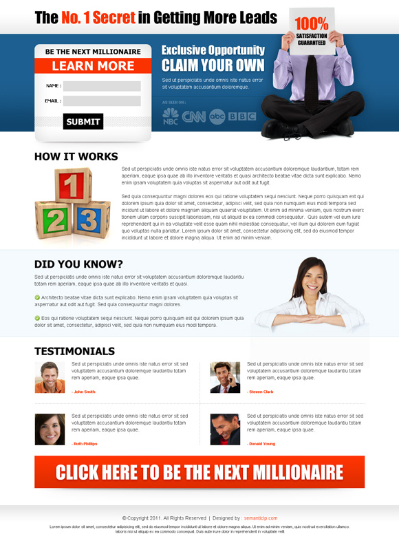 business opportunity landing page design for sale by semanticlp