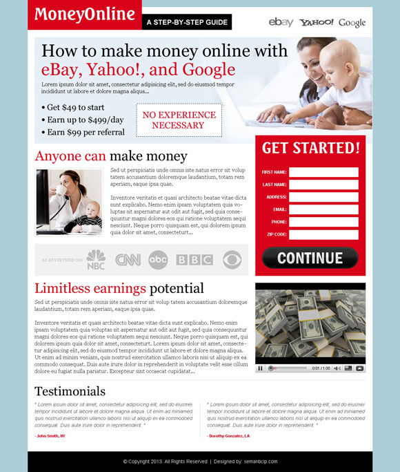 make money online landing page