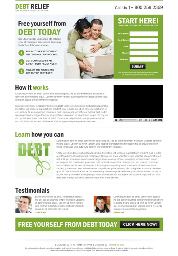 High quality professional debt relief landing page design that converts traffic into sales and leads from http://www.semanticlp.com/buy-now1.php?p=678